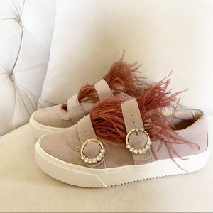 Zara suede dusty pink sneakers with feathers Sz 7